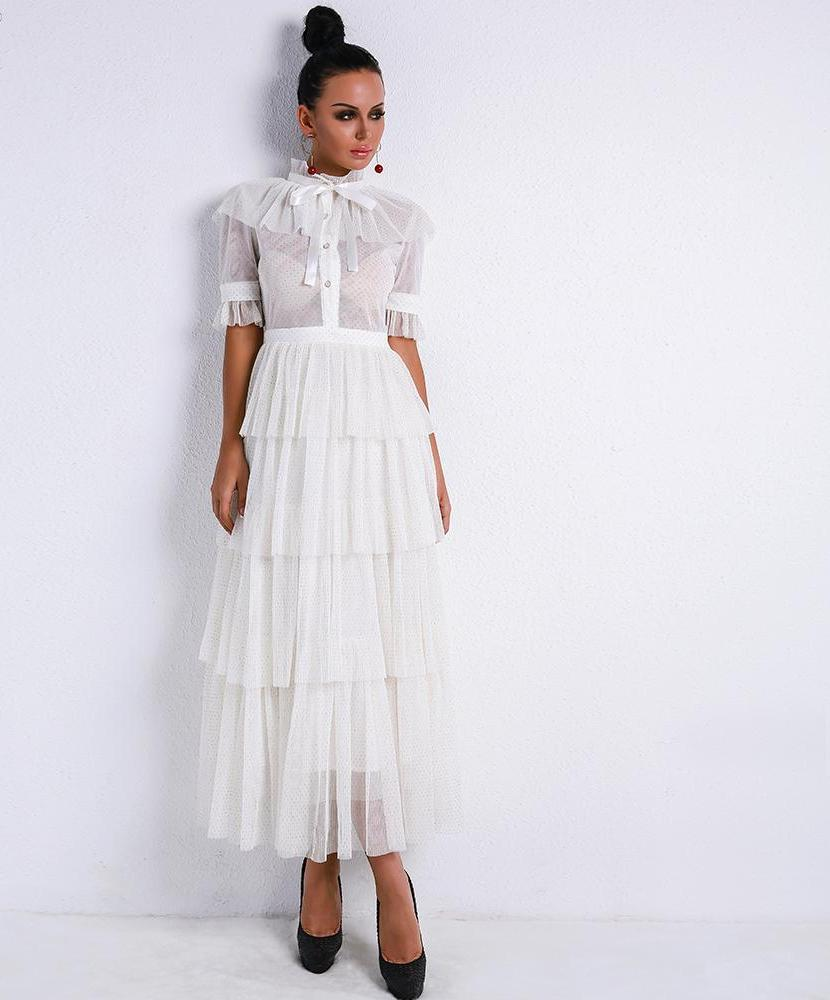 'MISS COCO' ELEGANT WHITE RUFFLE DRESS