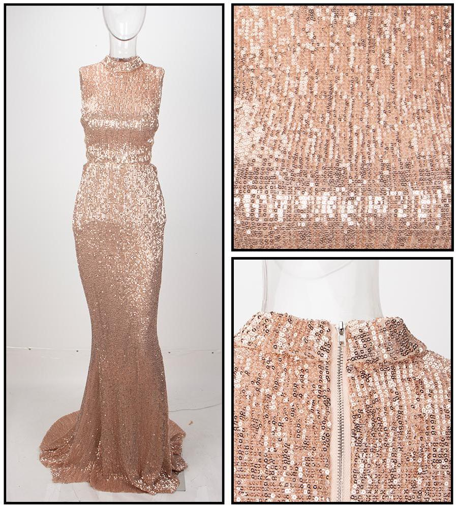 ADDISON CHAMPAGNE SEQUIN MAXI DRESS