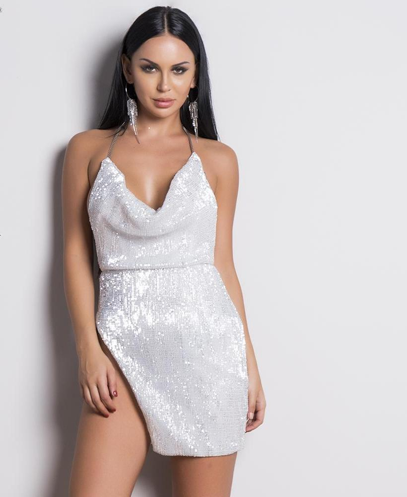 'MEET ME ON MY YACHT' WHITE SPARKLE PARTY DRESS
