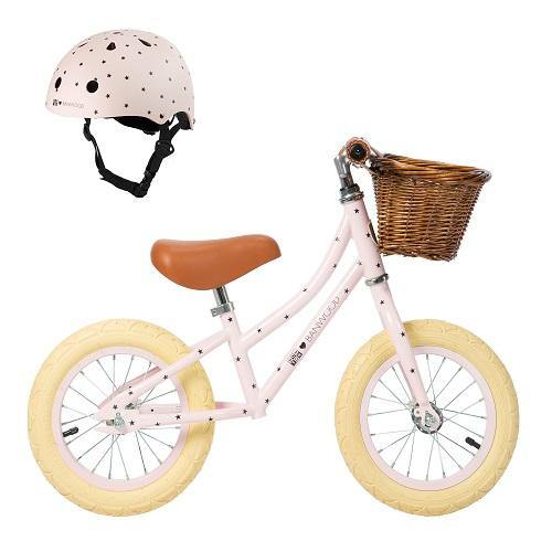 FIRST GO! - Balance Bike Set met Helm - BONTON Pink