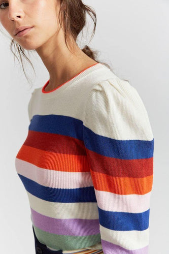 Little Fashion Addict - INDEE - Jabal Knit sweater striped - off white - Belgische mode voor meisjes vanaf 8 jaar