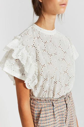 Little Fashion Addict - INDEE - Jacintha Flounced Sleeves Lace Top
