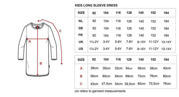 Little Fashion Addict - Snurk - Maattabel kids long sleeve dress