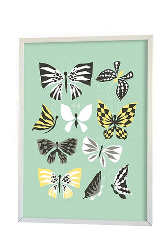 littlephant poster graphic print butterfly aqua