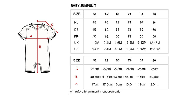 Little Fashion Addict - Snurk - Cherries Playsuit for babies - Maattabel