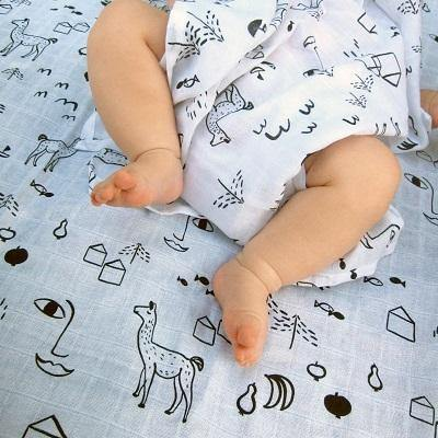 Swaddle & burp cloth uit Bio-katoen - 'Urban Jungle' - littlefashionaddict.com