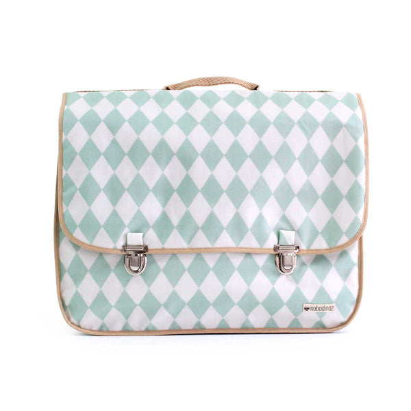 Kleine schooltas Archimedes - green diamonds - littlefashionaddict.com
