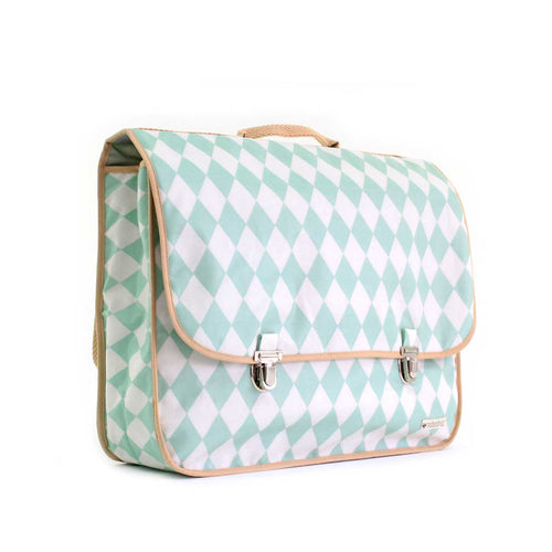 Kleine schooltas Archimedes - green diamonds