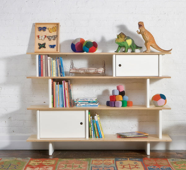 Mini bibliotheek - wit/walnoot