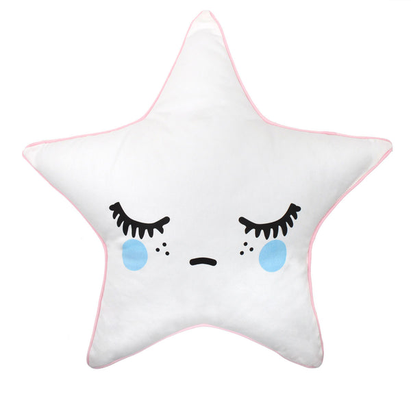 Sleepy Dolly Star kussen - Blauwe wangen - littlefashionaddict.com
