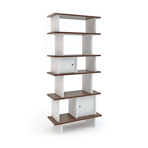Verticaal Mini bibliotheek - wit/walnoot - littlefashionaddict.com