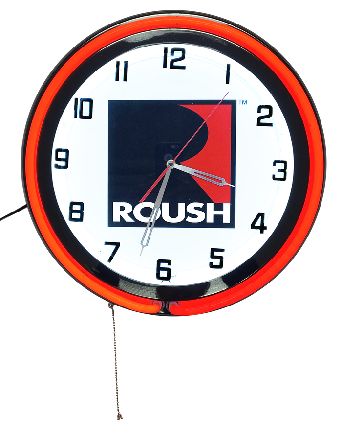 Roush Retro Style Double Neon Clock - Chrome