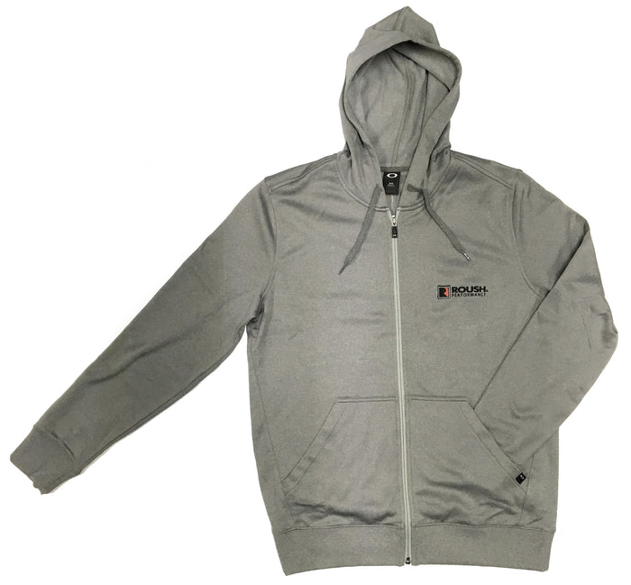 Oakley Heather Grey Poly Hooded Full Zip Sweatshirt