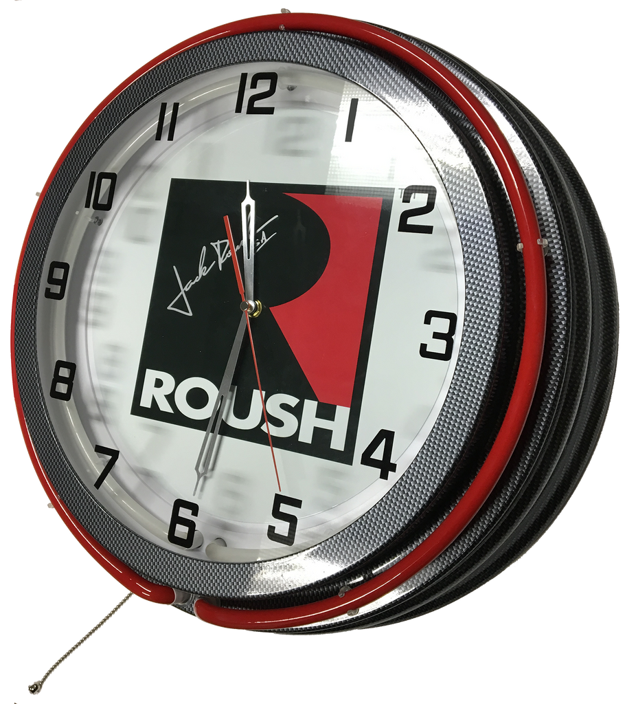 Jack Roush Signature Series Double Neon Clock - Carbon Fiber