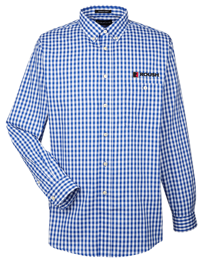 Roush Blue/White Gingham Long Sleeve Shirt