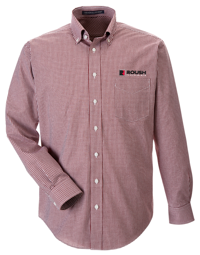 Roush Burgundy/White Gingham Check Long Sleeve Shirt