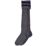 Grey Long Socks with Navy Bars