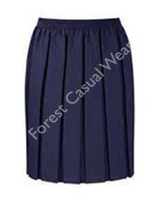 Navy Box Pleat Skirt with Elasticated Waist (Longer Length)