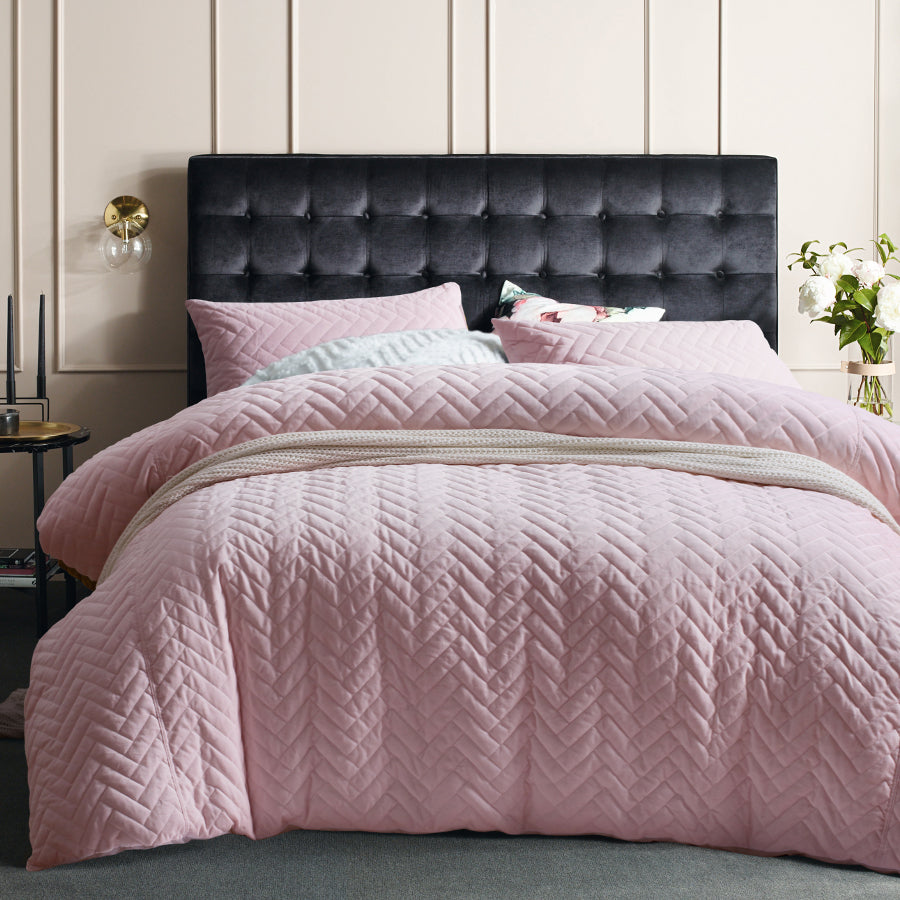 Light pink saphire quilted cotton velvet quilt cover set duvet