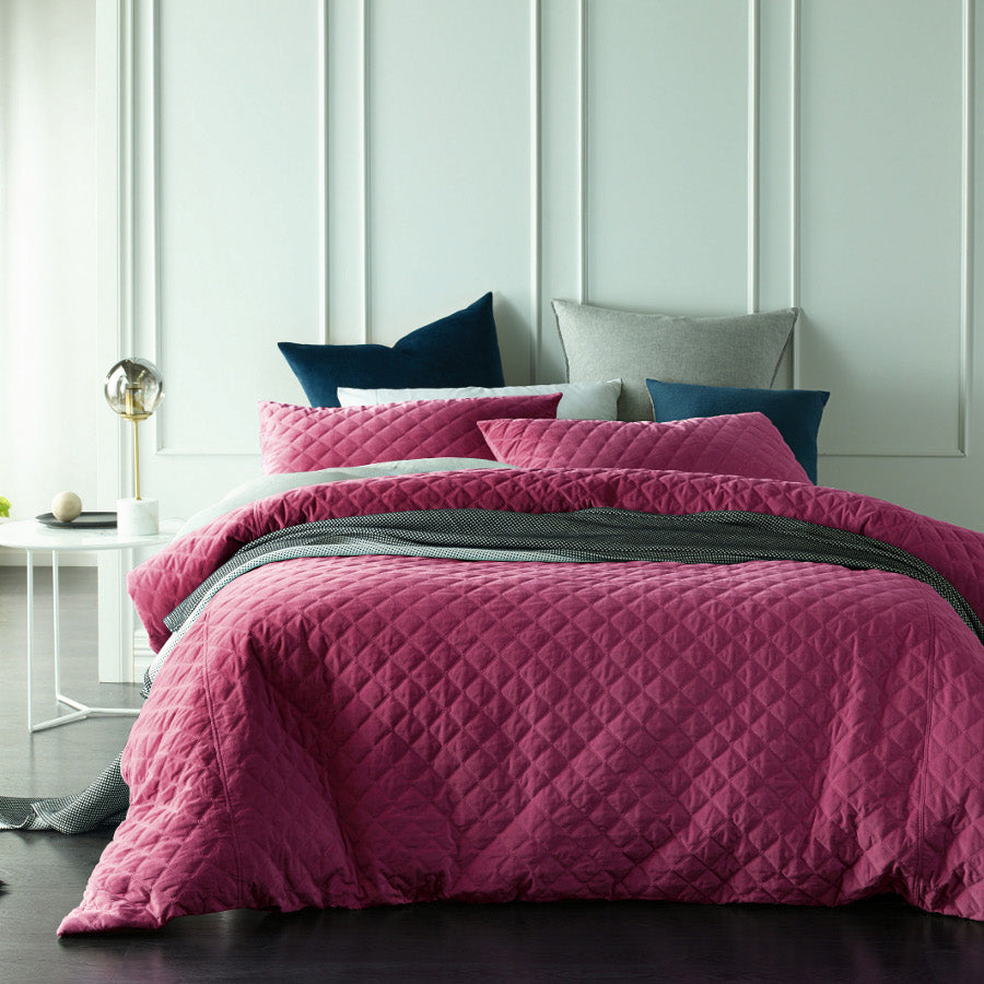 pink mytic topaz quilted cotton velvet quilt cover set duvet