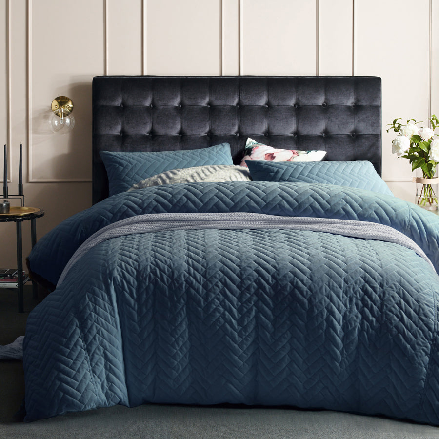 Blue Moissonite quilted velvet cotton quilt cover set duvet