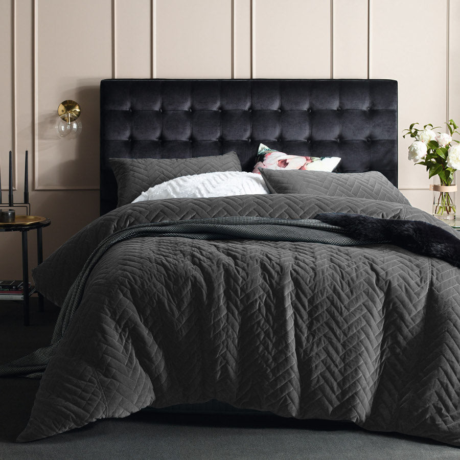 Grey Quartz Quilted Velvet Cotton Quilt cover set duvet