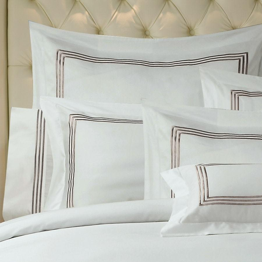 1000TC Mocha Embroidery on White Duvet Cover set. Hotel Living quilt cover set.