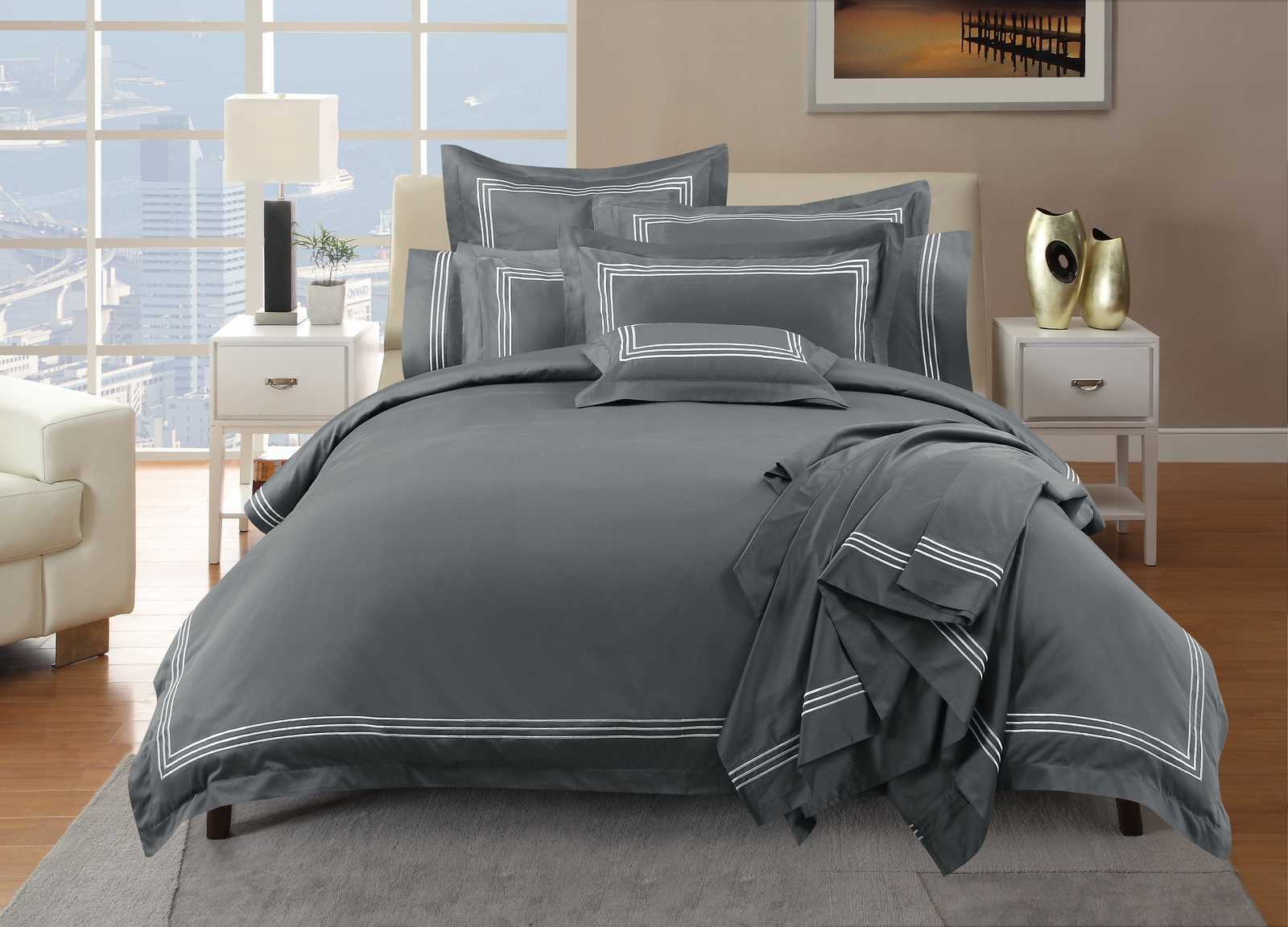 Hotel Quality - 1000TC Embroidery Line Charcoal Duvet / Quilt Cover set - Available in Queen, King, Super King and Accessories