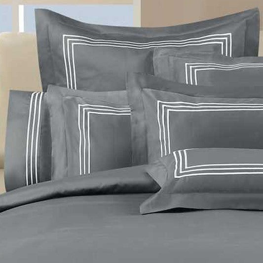 1000 Thread Count Sheet Set - Charcoal with White Embroidery Lines - Hotel Luxury