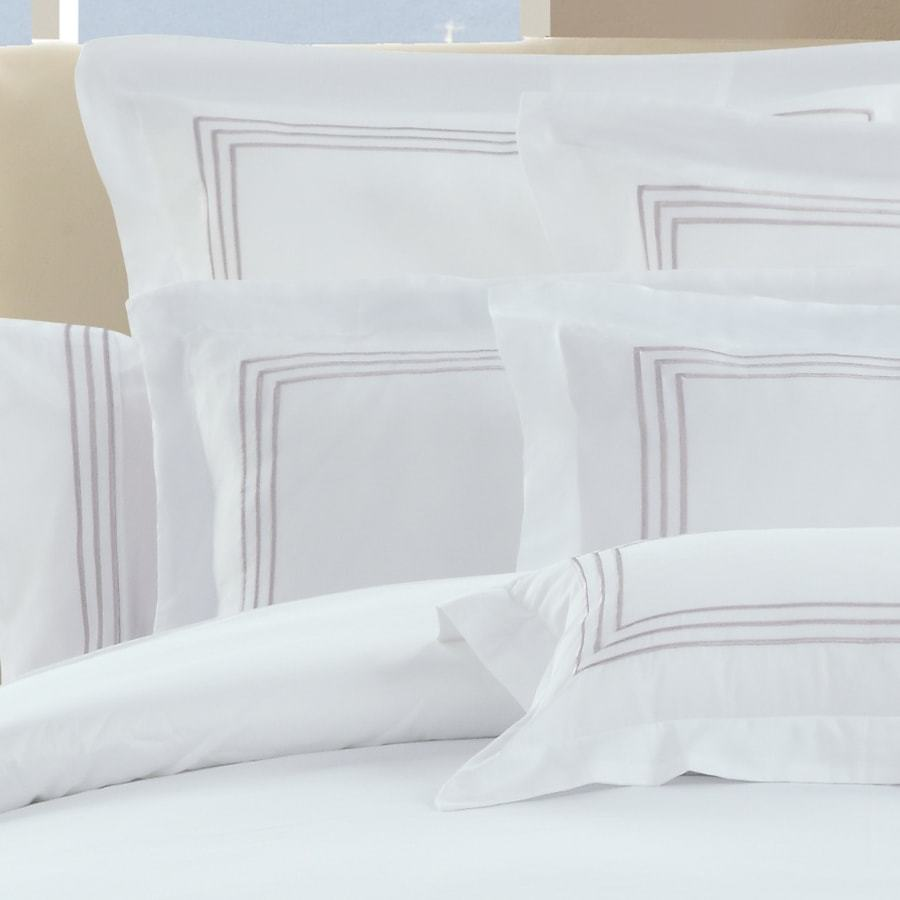 1000 Thread Count Sheet Set - White with Linen Embroidery Lines - Hotel Luxury