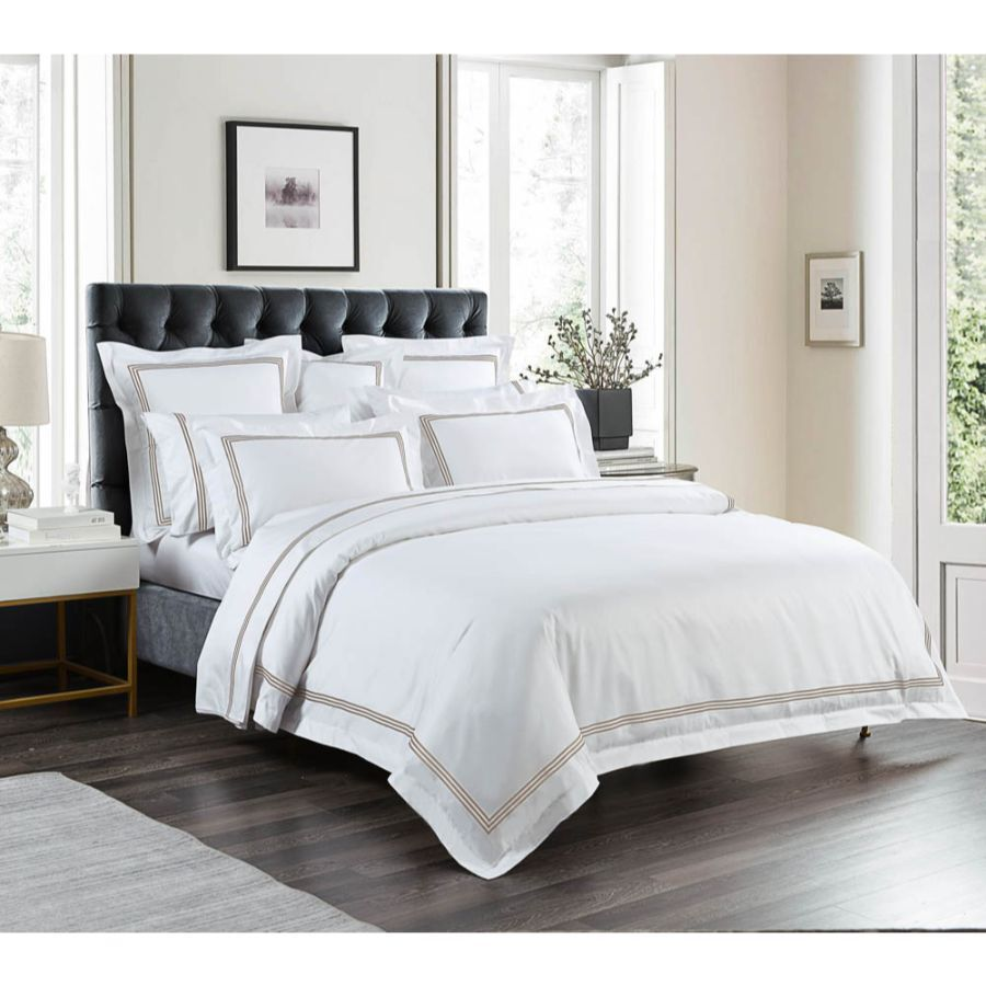 1000 Thread Count Sheet Set - White with Mocha Embroidery Lines - Hotel Luxury