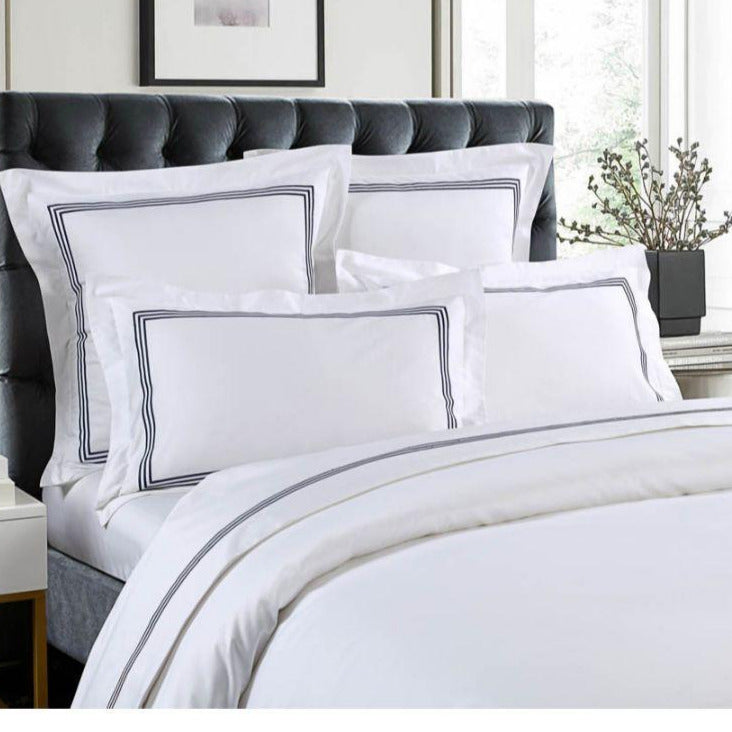 1000 Thread Count Sheet Set - White with Navy Embroidery Lines - Hotel Luxury