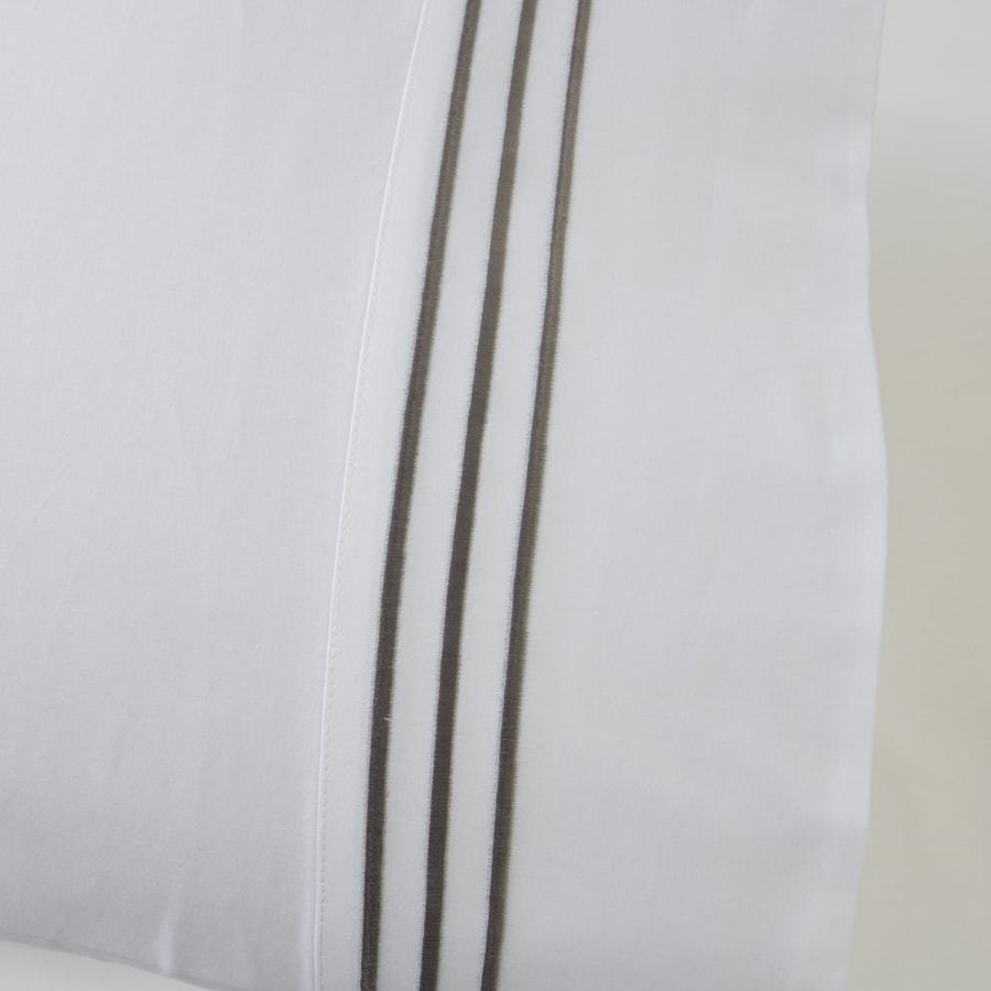 1000 Thread Count Sheet Set - White with Silver Grey Embroidery Lines - Hotel Luxury