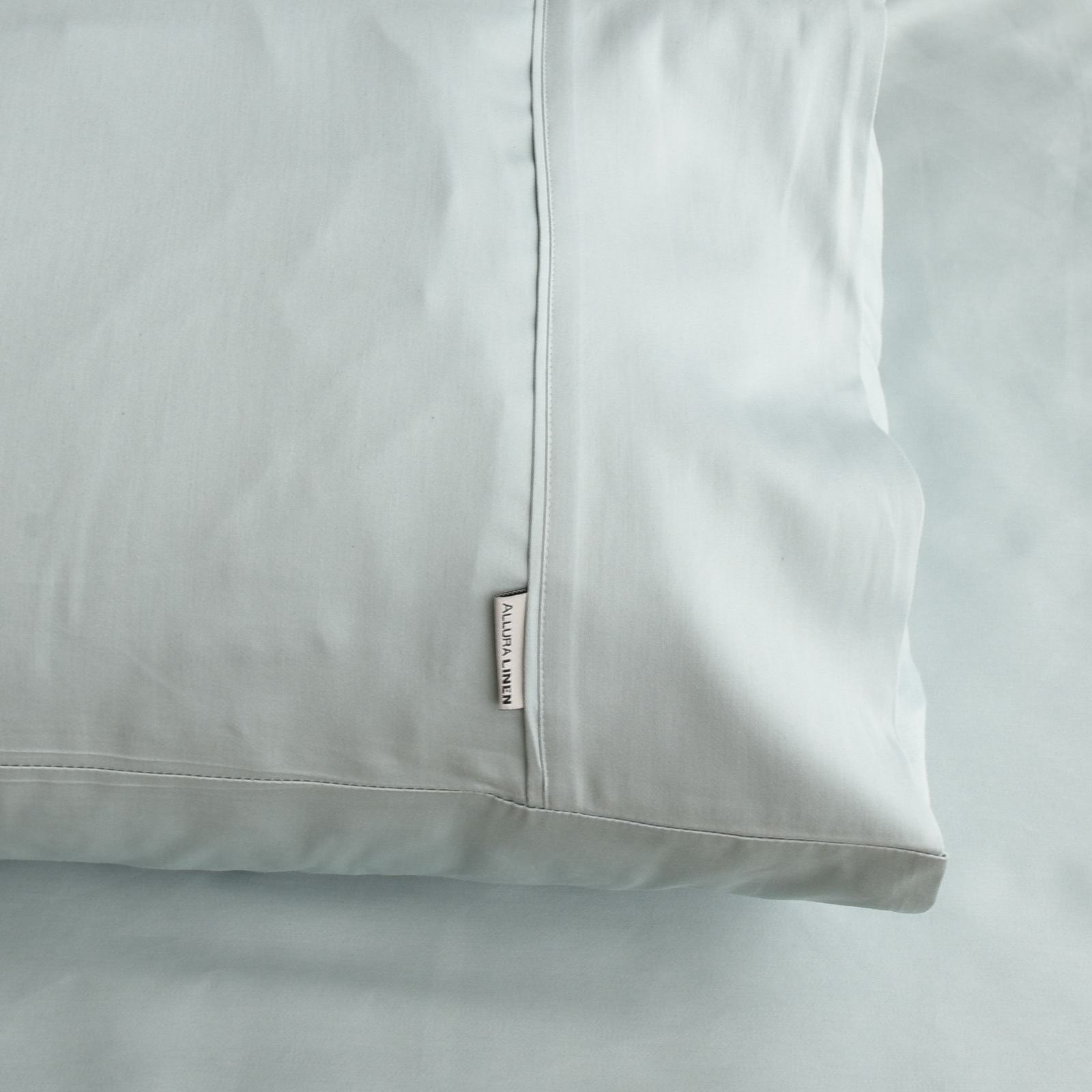 400 thread count, 100% cotton, sateen finish standard pillowcase PC, sage green