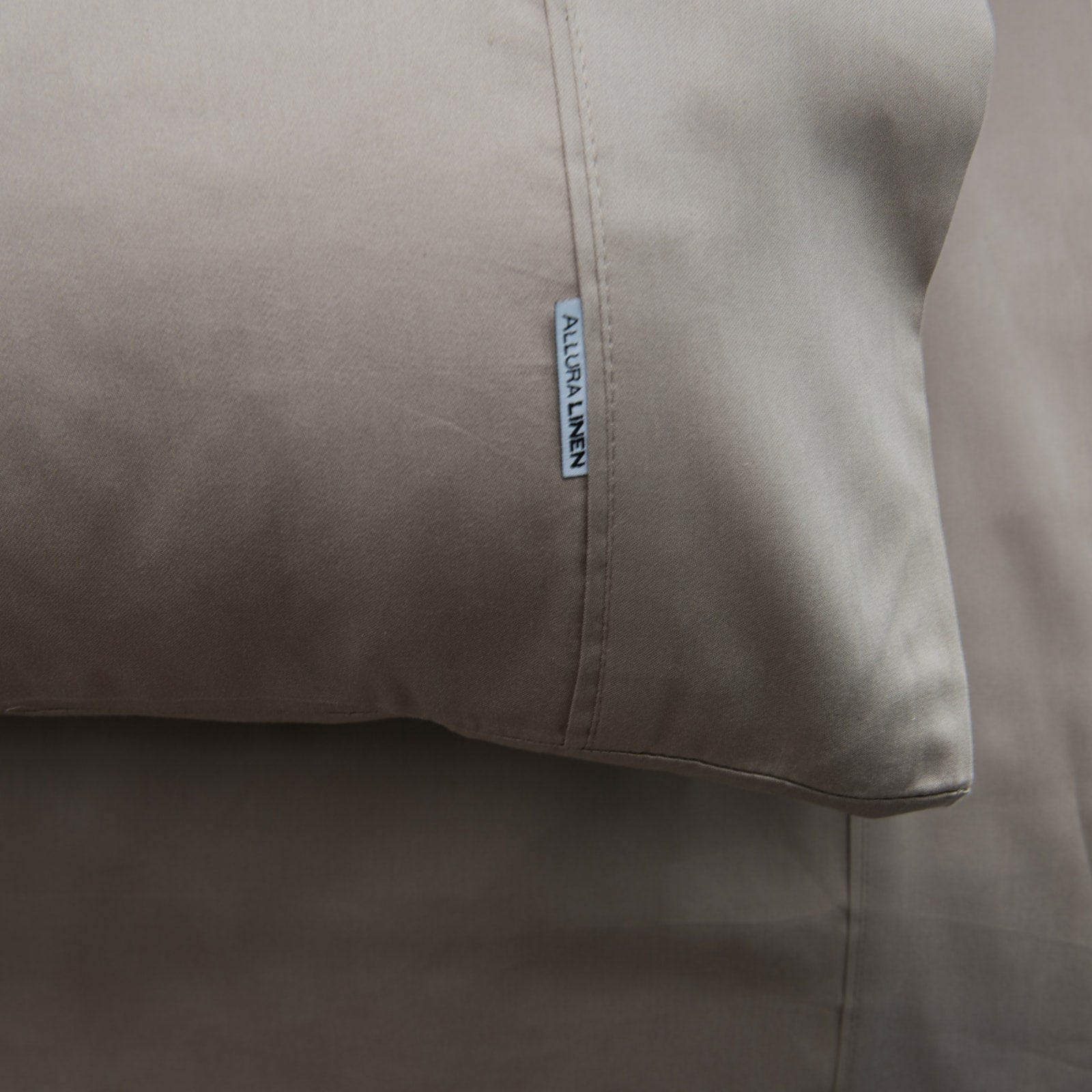 400 thread count, 100% cotton, sateen finish standard pillowcase PC, taupe