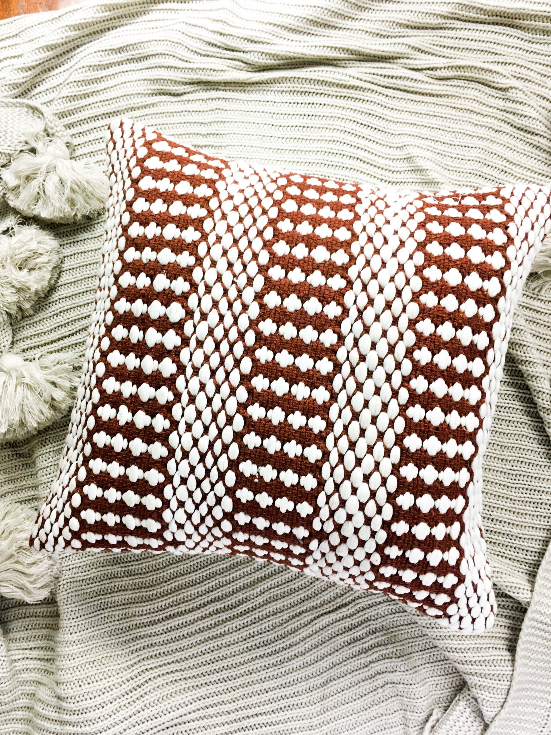 Dalton Texture Cushion Cover - Rust / Burgundy