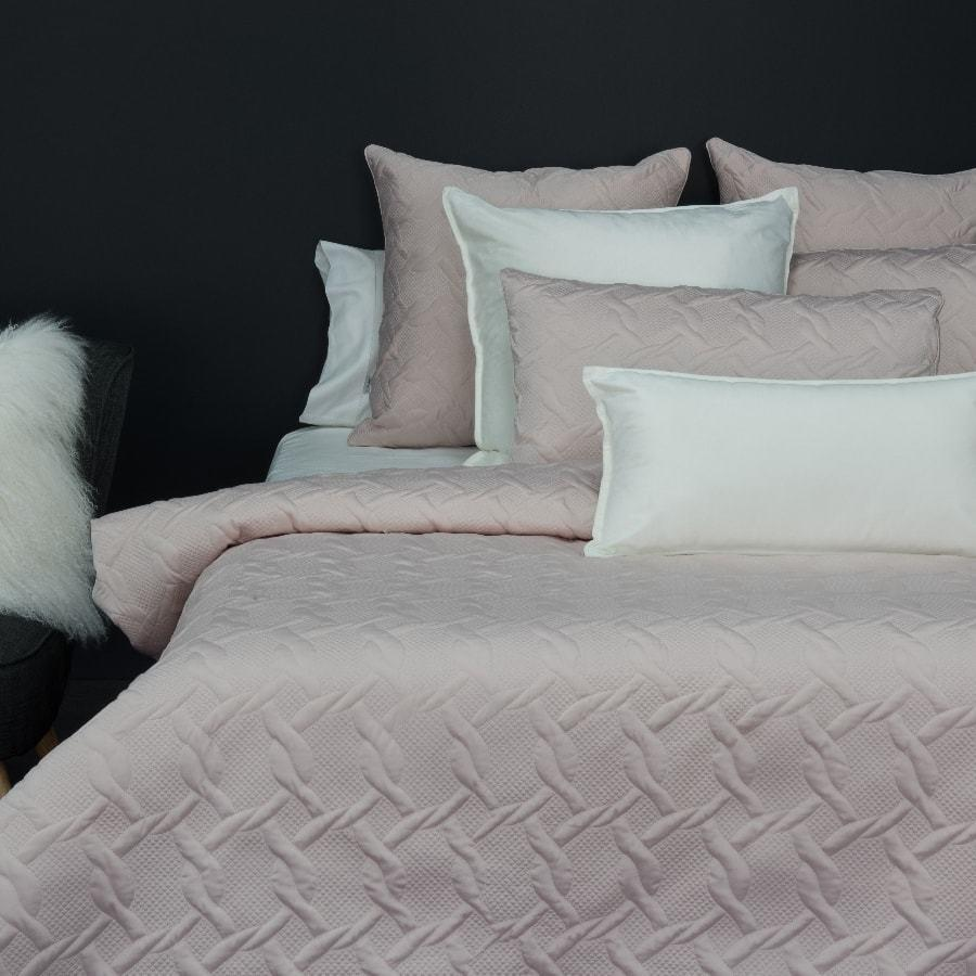 Aiden Blush Pink duvet cover set. Quilted quilt cover.