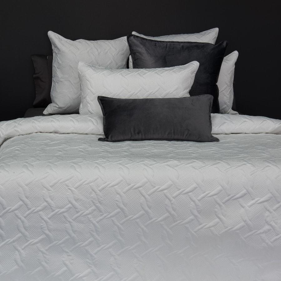 Aiden white grey duvet cover set. Quilted quilt cover.