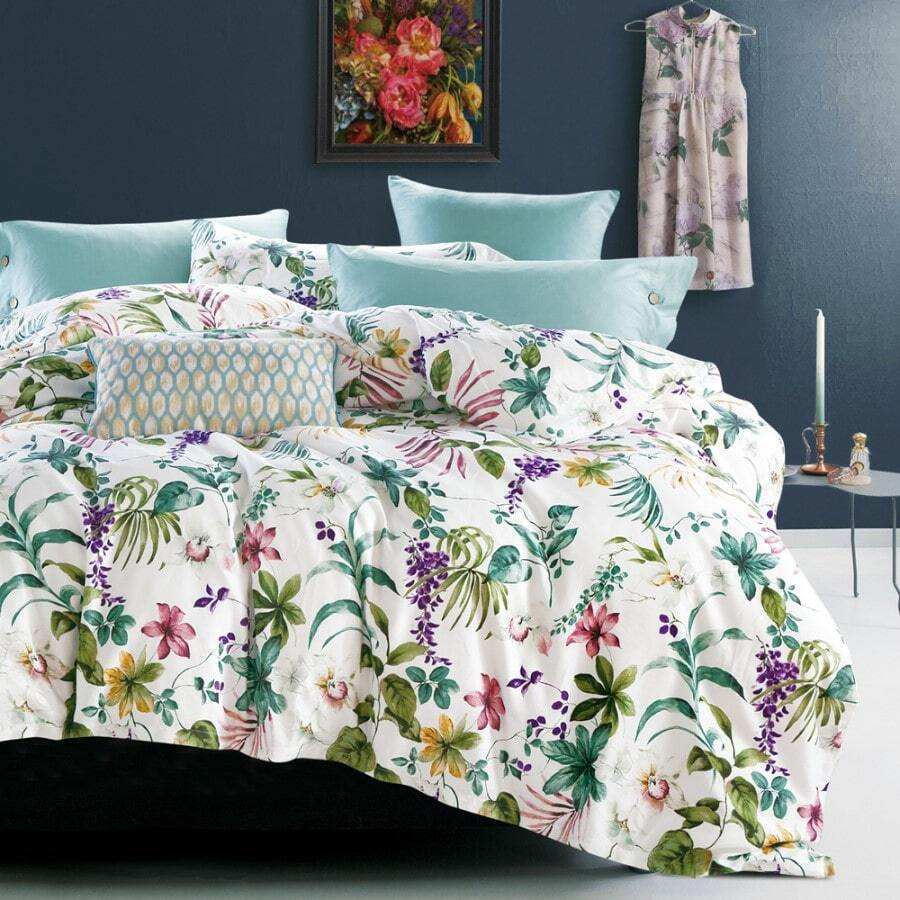 aria whimsical ivory botanical floral green purple pink duvet quilt cover set