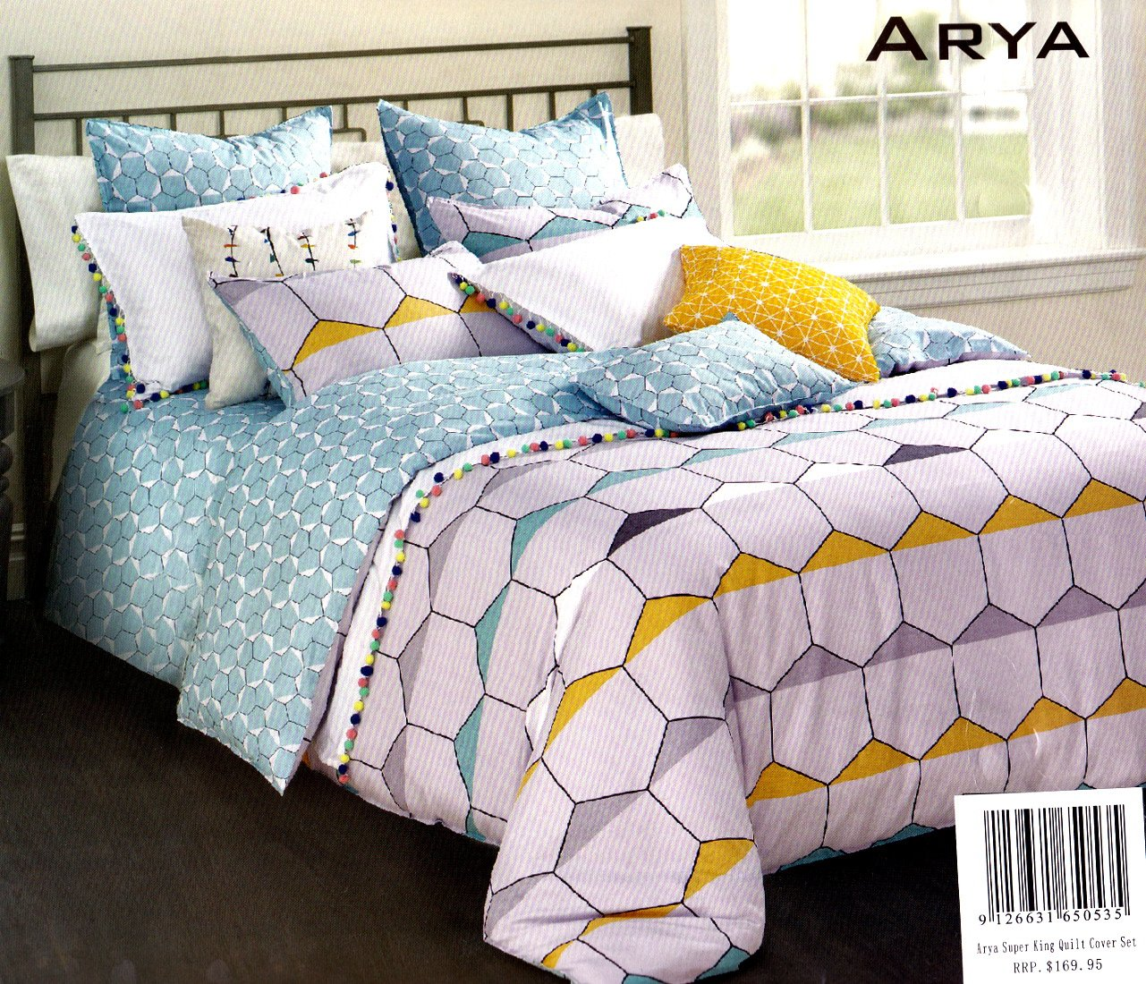 Bamboo Cotton Duvet cover set. Aqua and Lilac quilt cover set.