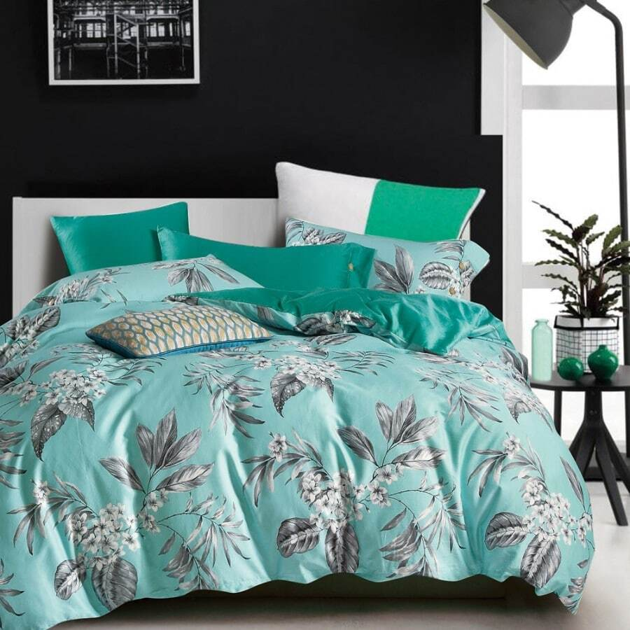soft aqua duvet quilt cover set with grey floral