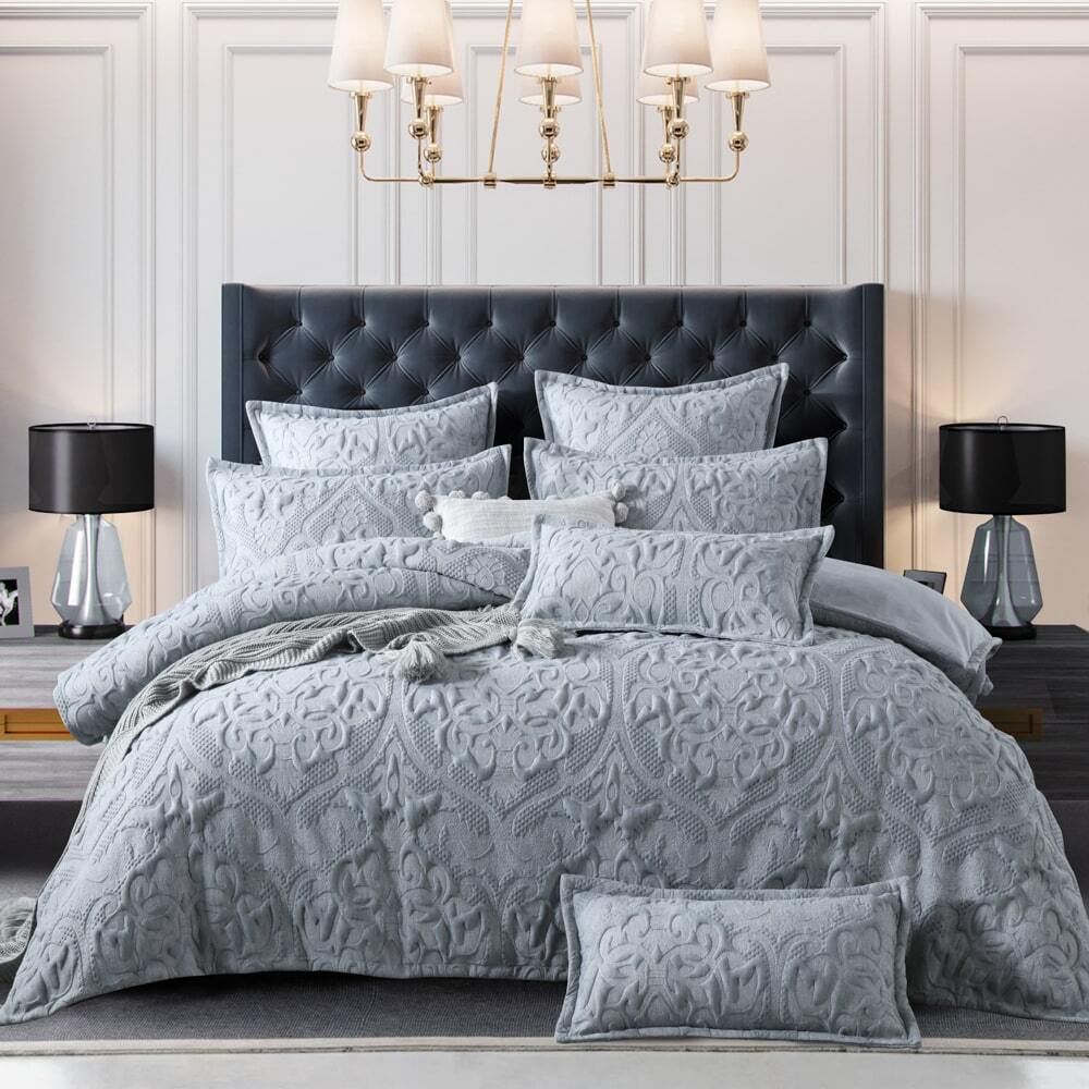 grey amari quilt cover set soft luxury quilted effect