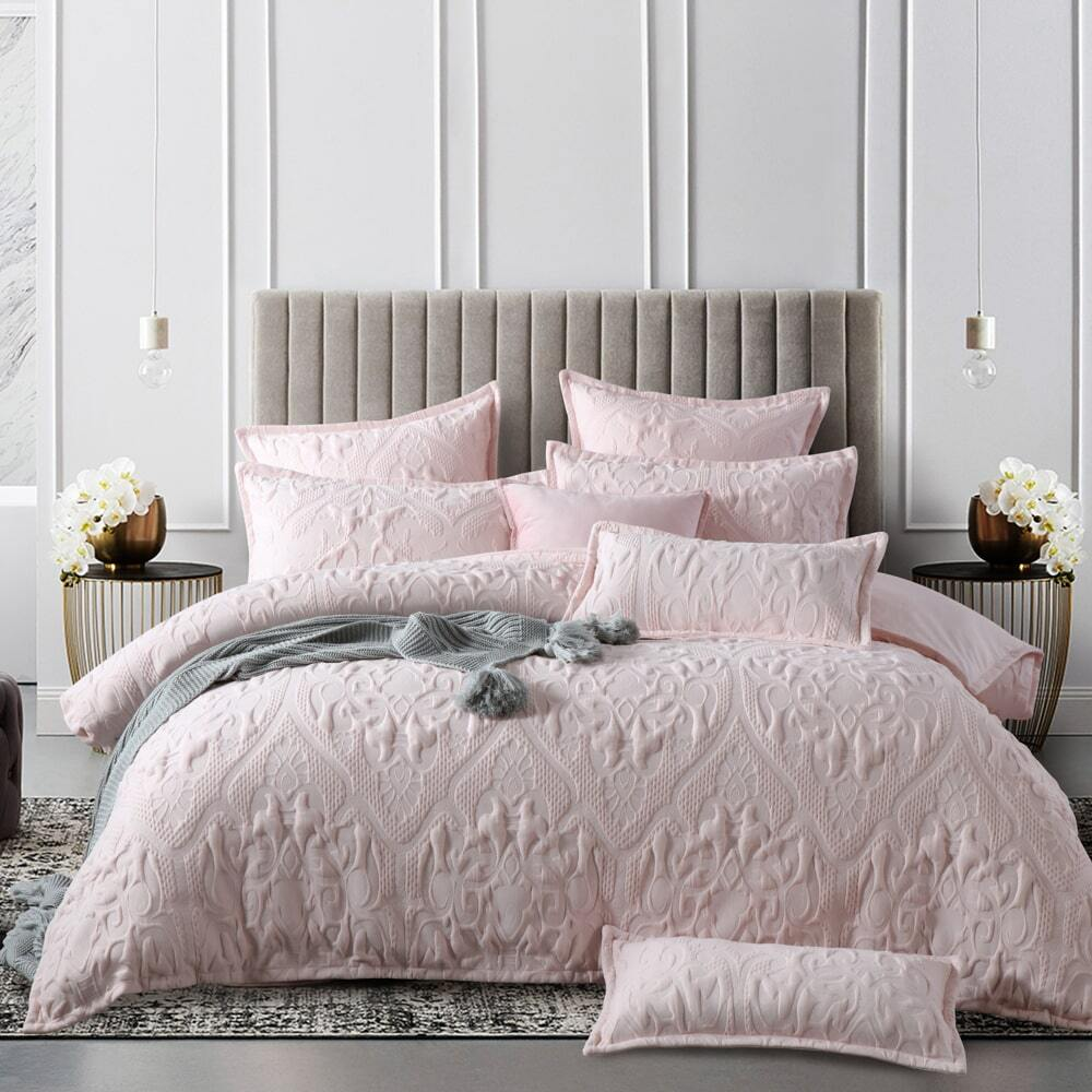 pink amari quilt cover set soft luxury quilted effect