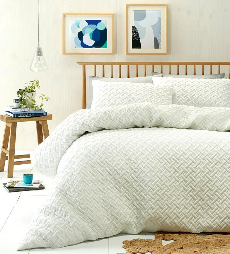 White and Linen options in this Minimal and understated design on this quilt cover set.