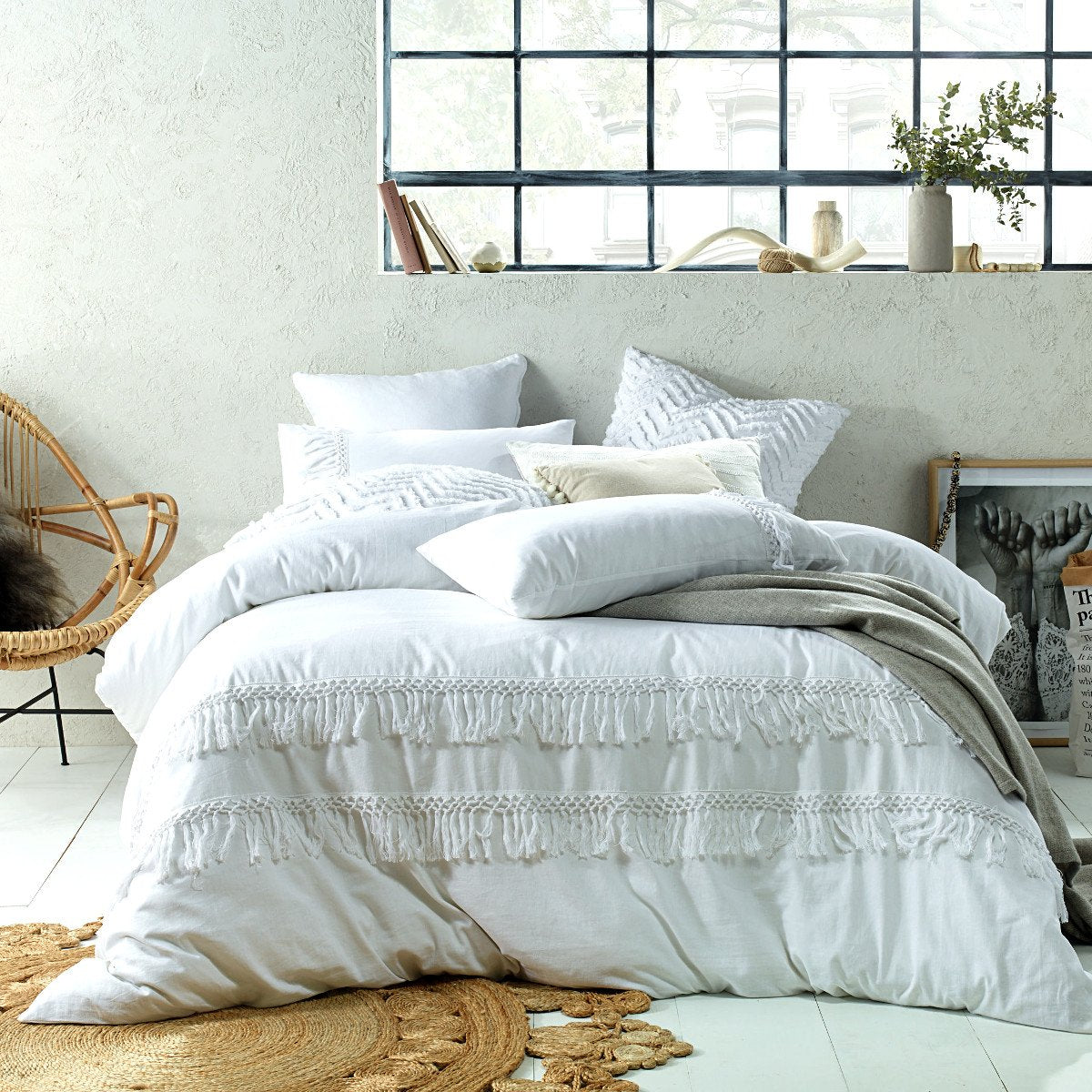 Tassels white duvet cover set. Vinatge wash linen cotton quilt cover set.