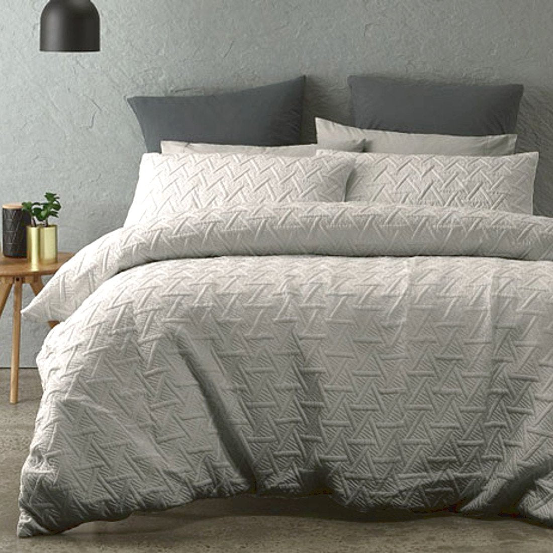 Silver Grey duvet cover set is Sophisticated, Minimal and understated addition with the quilted effect fabric.