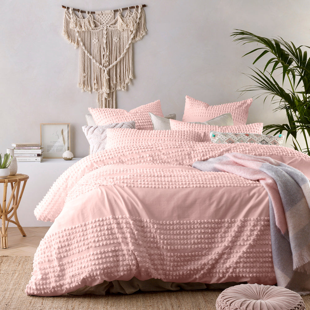 Blush Pink Tufted Quilt Cover Set