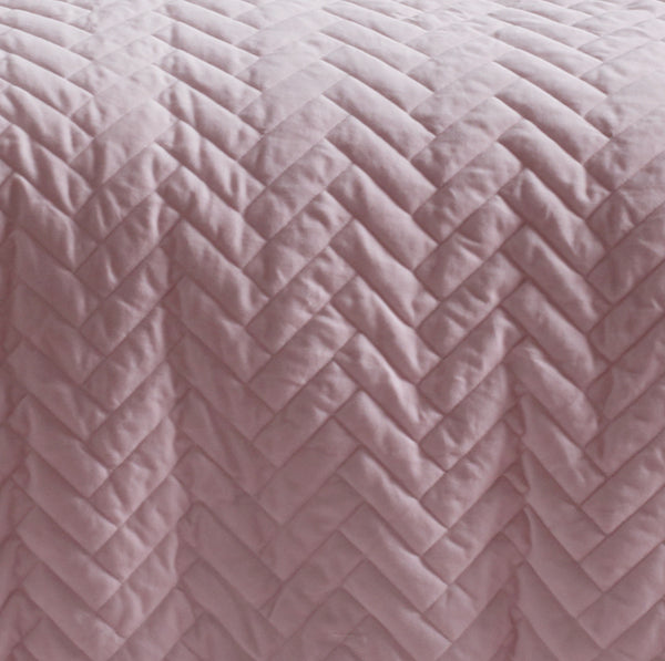 blush cotton velvet quilted quilt cover set