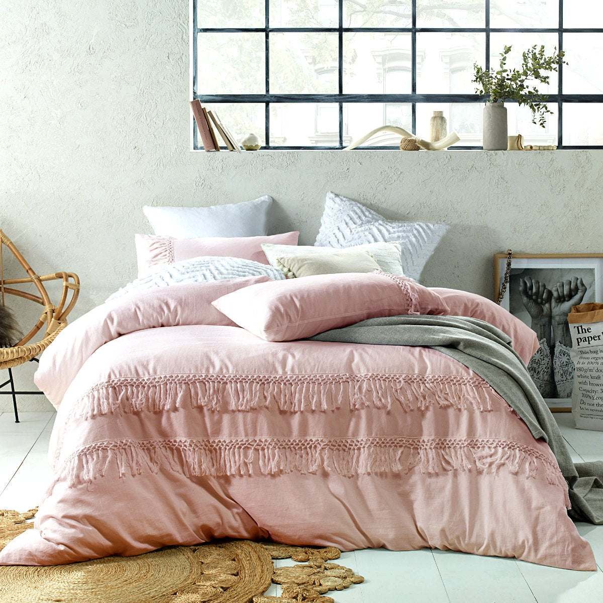 Tassels Blush Duvet cover set. Cotton Linen Quilt cover set