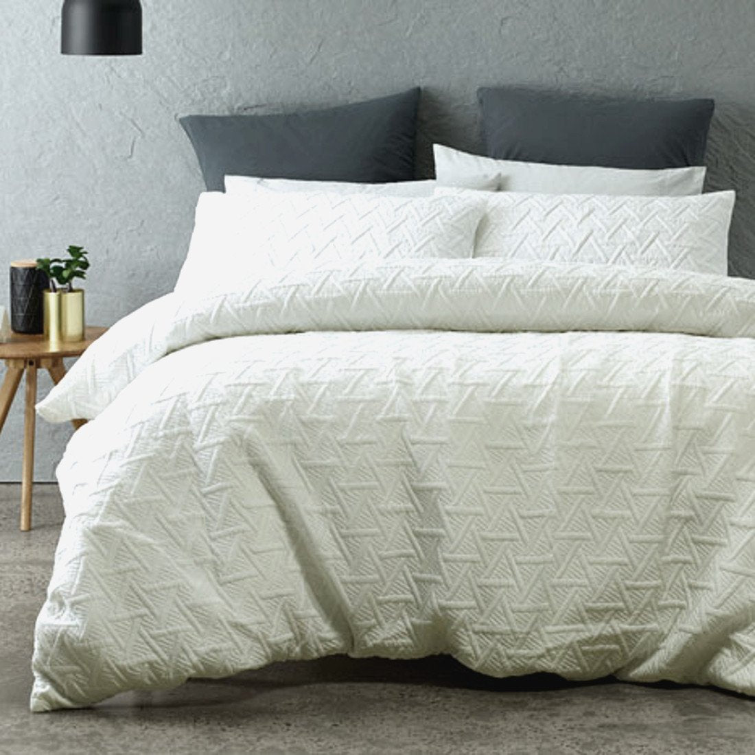 White duvet cover set is Sophisticated, Minimal and understated addition with the quilted effect fabric.